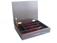 wooden gift box in hinged lid